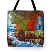 Hawaiian Hut By Rushing Waters Tote Bag