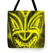 Hawaiian Mask Negative Yellow Tote Bag