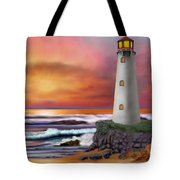 Hawaiian Sunset Lighthouse Tote Bag