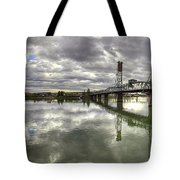 Hawthorne Bridge Over Willamette River Tote Bag