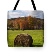 Hay Bale In Country Field Tote Bag