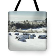 Hay Bales Covered With Snow And Ice In Maine Tote Bag