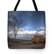 Hay Bales On A Wagon Tote Bag