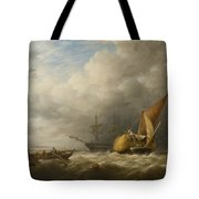 Hay Barges In The Thames Estuary Tote Bag by Alfred Herbert