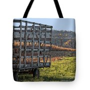 Hay Wagon In Field Tote Bag