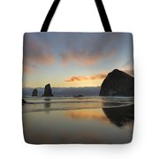 Haystack And Sunset Along Oregon Coast Tote Bag