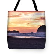 Haystack Rock Beach Walk Sunset Tote Bag