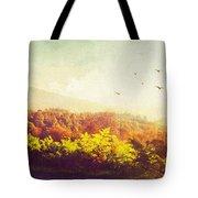 Hazy Morning In Trossachs National Park. Scotland Tote Bag by Jenny Rainbow