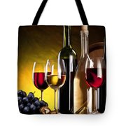 Hdr Style Wine Glasses Bottle Cask And Grapes Tote Bag