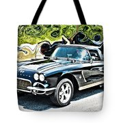 Chevrolet Corvette Vintage With Curly Background Tote Bag