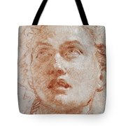 Head Of A Man Looking Up Tote Bag