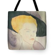 Head Of A Woman Wearing A Hat Tote Bag