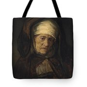 Head Of An Aged Woman Tote Bag by Rembrandt