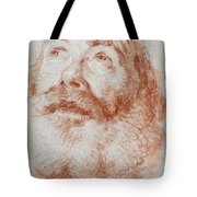 Head Of An Old Man Looking Up Tote Bag