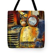 Headlight On A Retired Relic Abstract Tote Bag