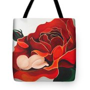 Healing Painting Baby Sleeping In A Rose Tote Bag