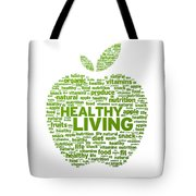 Healthy Living Apple Illustration Tote Bag