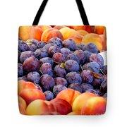 Heap Of Fresh Organic Peaches And Damson Plums  Tote Bag