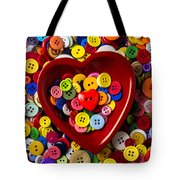 Heart Bowl With Buttons Tote Bag
