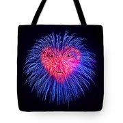 Heart Fireworks Face Tote Bag