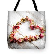 Heart From Dry Rose Buds Tote Bag