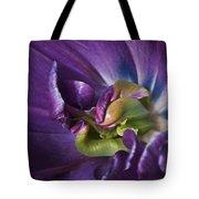 Heart Of A Purple Tulip Tote Bag