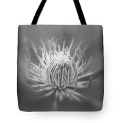 Heart Of A Red Clematis In Black And White Tote Bag