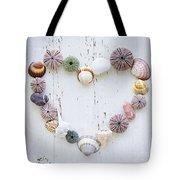 Heart Of Seashells And Rocks Tote Bag