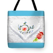 Heart On Snow With Rose Tote Bag