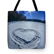 Heart Outlined On Snow On Topw Of Frozen Lake Tote Bag
