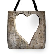 Heart Shape Carved Into A Plank Tote Bag