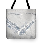 Heart Shape In Snow Tote Bag