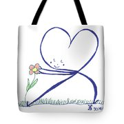 Heart Touches Flower Lovingly Tote Bag