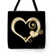 Hearts In Gold And Ivory On Black Tote Bag