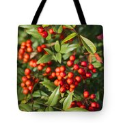 Heavenly Bamboo Red Berries Tote Bag