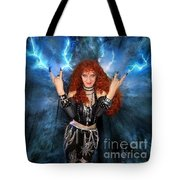 Heavy Metal Fashion. Sofia Metal Queen. Blue Fire Storm. The Power Tote Bag