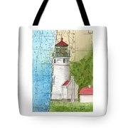 Heceta Head Lighthouse Or Nautical Chart Map Art Cathy Peek Tote Bag