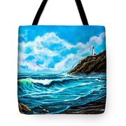 Heceta Head Lighthouse Oregon Coast Original Painting Forsale Tote Bag