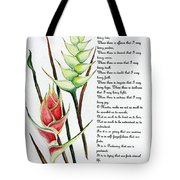 Heliconia Poem Tote Bag