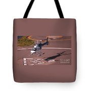 Helicopter Landing In Victoria, British Columbia Tote Bag