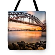 Hell Gate And Triboro Bridge At Sunset Tote Bag
