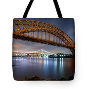 Hell Gate And Triboro Bridge By Night Tote Bag
