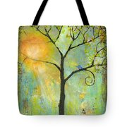 Hello Sunshine Tree Birds Sun Art Print Tote Bag by Blenda Studio