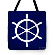 Helm In White And Navy Blue Tote Bag