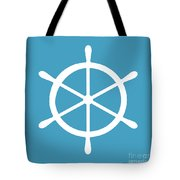 Helm In White And Turquoise Blue Tote Bag