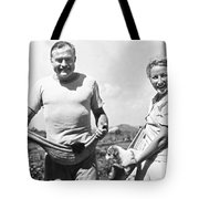 Hemingway, Wife And Pets Tote Bag by Underwood Archives