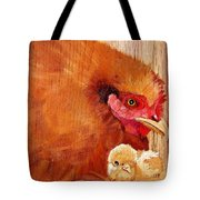 Hen With Chick On Wood Tote Bag