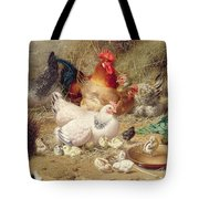 Hens Roosting With Their Chickens Tote Bag
