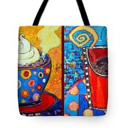Her And His Coffee Cups Tote Bag