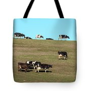 Herd Of Cows Grazing On A Hill, Point Tote Bag